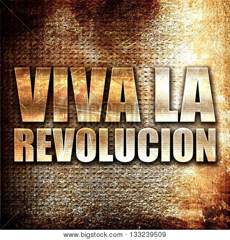 viva la revolucion, 3D rendering, metal text on rust background