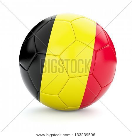 3d rendering of Belgium soccer football ball with Belgian flag isolated on white background