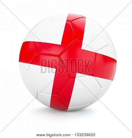 3d rendering of England soccer football ball with English flag isolated on white background