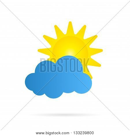Vector sun and cloud icon over white.