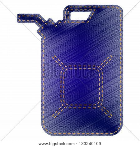 Jerrycan oil sign. Jerry can oil sign. Jeans style icon on white background.