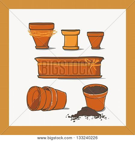 Set of ceramic pots of different shapes.