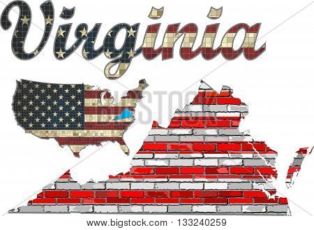 USA state of Virginia on a brick wall - Illustration, The flag of the state of Virginia on brick textured background,  Font with the United States flag,  Virginia map on a brick wall
