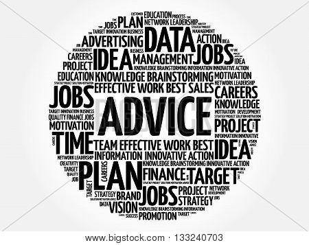 Advice word cloud business concept, presentation background