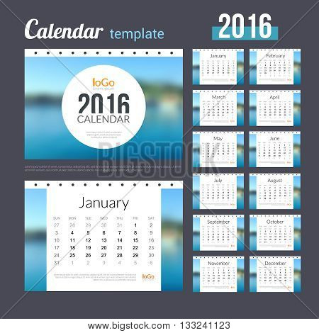 Desk Calendar 2016 Design Template with Nature Coast Water Background. Sunday Start. Set of 12 Months. vector illustration.