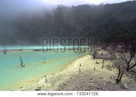 Kawah Putih Crater in Ciwidey West Java indonesia
