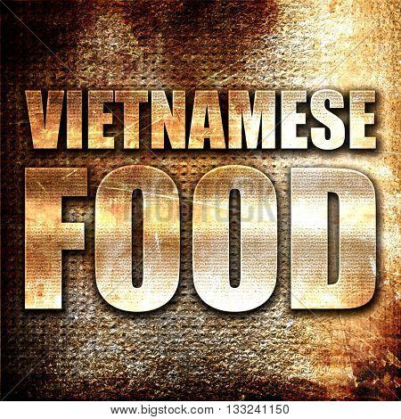 vietnamese food, 3D rendering, metal text on rust background