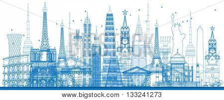 Outline world famous landmarks. Business travel and tourism concept. Image for presentation, banner, placard and web site