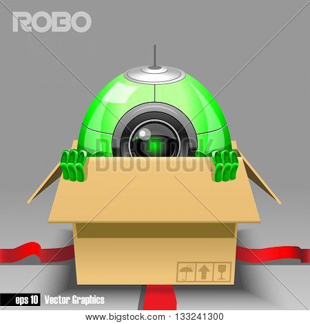 3d green robo eyeborg exiting from a brown box with red ribbon as a surprise. Big green and black eye and antenna two hands. Digital vector image.