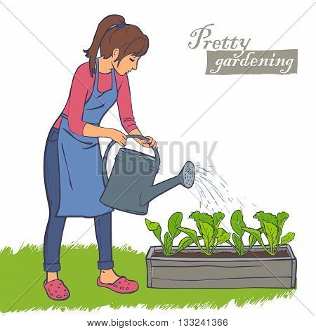 woman watering plants in the flowerpot, lettuce, spinach