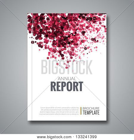 Business Report Design Background with Colorful Red Dots, simulating Watercolor. Dotwork Brochure Cover Magazine Flyer Template Banners, vector illustration.