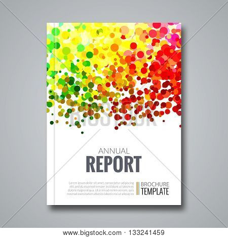 Business Report Design Background with Colorful Dots, simulating Watercolor. Dotwork Brochure Cover Magazine Flyer Template, vector illustration