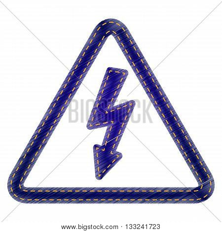 High voltage danger sign. Jeans style icon on white background.