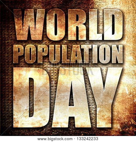 world population day, 3D rendering, metal text on rust backgroun