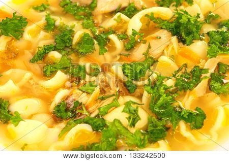 Chicken soup with farfalle pasta and carrots decorated with parsley on a plate