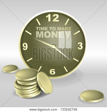 Big 3d clock with time to make money text. Reflection on the glass big coins. Digital vector image