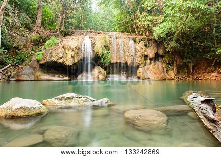 Erawan Waterfall In Morning In Dry Season At Erawan National Park In Kanchanaburi, Thailand On Febru