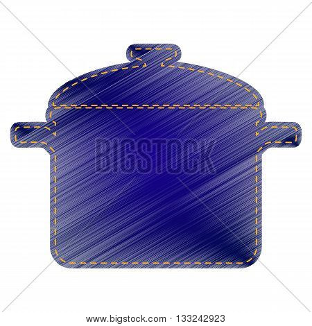 Cooking pan sign. Jeans style icon on white background.