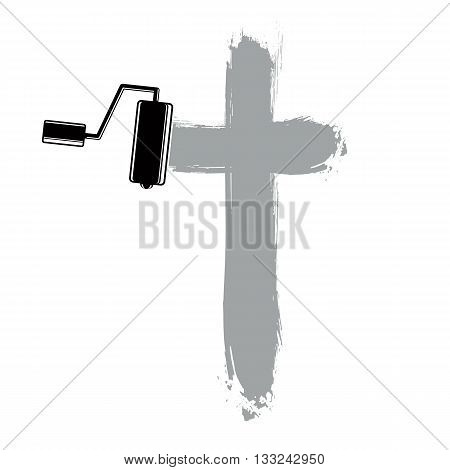 Religious cross vector simple illustration created with smudge brushstrokes. Spiritual symbol art drawing of crucifix.