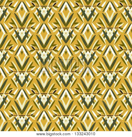 Vector art deco pattern with floral motifs 1920s fashion style. Simple, chic and elegant print with geometric decor from roaring twenties for wedding invitation background in white, yellow, gold