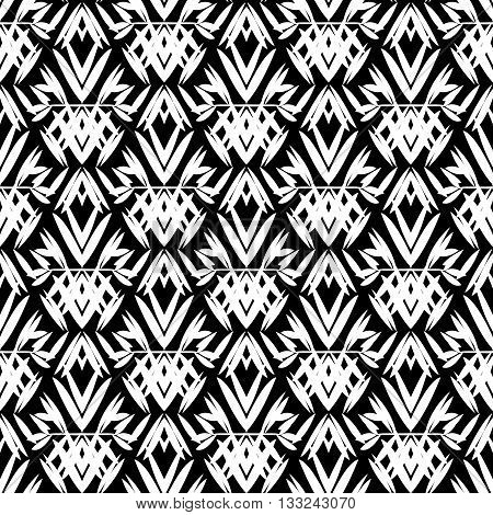 Vector art deco pattern with floral motifs 1920s fashion style. Simple, chic and elegant print with geometric decor from roaring twenties for wedding invitation background in white and black