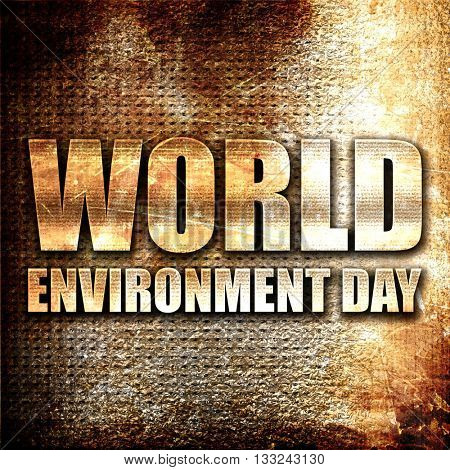 world environment day, 3D rendering, metal text on rust backgrou