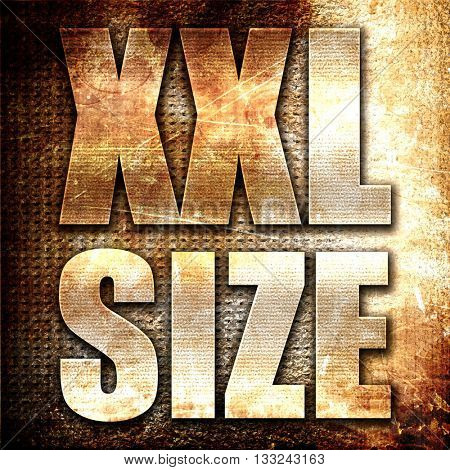 xxl size, 3D rendering, metal text on rust background