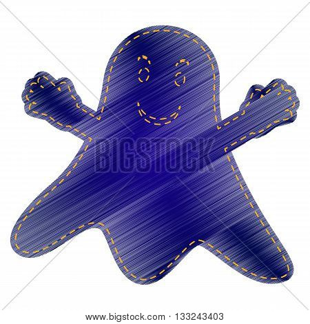 Ghost isolated sign. Jeans style icon on white background.