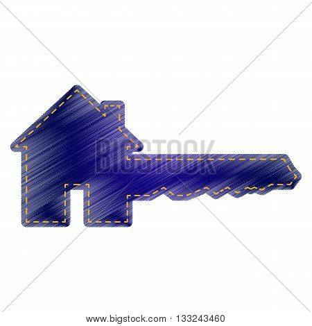 Home Key sign. Jeans style icon on white background.