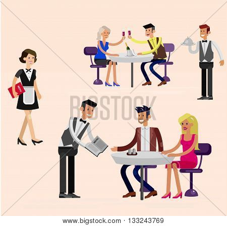 Vector detailed character people in the restaurant, canteen catering service for public and personnel restaurant, restaurant waiter serves guests. Vector restaurant illustration