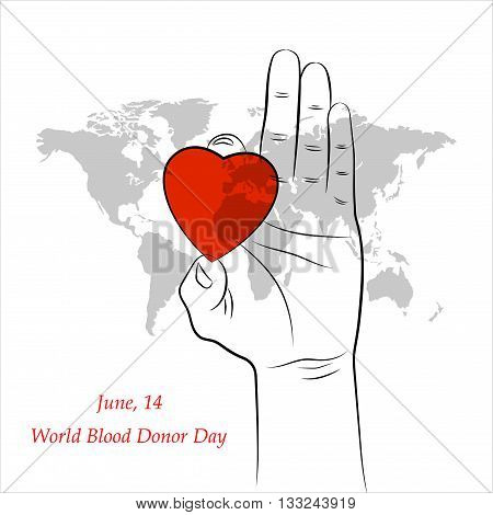 Red Heart in Hand over Grey World Map. Element for the World Blood Donor Day and other medical projects and design. Medical Blood Donation Design Elements.