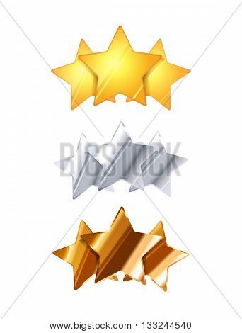 Golden silver and bronze three glossy rating stars isolated on white