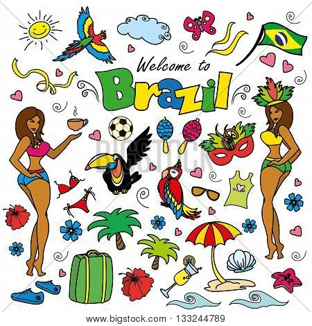 Big cartoon set of Brazilian templates -a Brazilian accessories clothes trees musical instruments animals. For banners sport backgrounds presentations