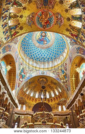Kronstadt Saint-Petersburg Russia - July 13 2013: : Jesus Christ and Apostles in interior of The Naval Orthodox Cathedral of Saint Nicholas