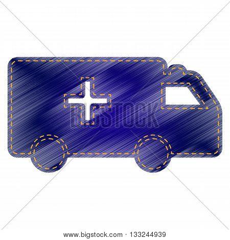 Ambulance sign illustration. Jeans style icon on white background.