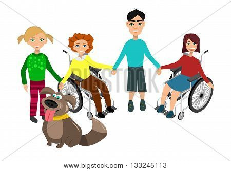 Special needs children with friends friends and handicapped children. Vector illustration. Funny kids with dog