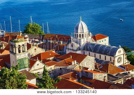 Panorama of the mediterranean city of Sibenik and cathedral of St. James. Croatia