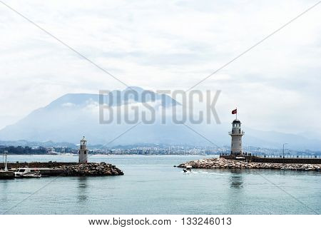 Seascape and the lighthouse on the coast in Bodrum, Turkey
