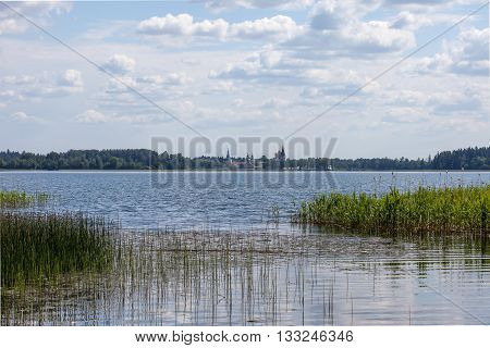 Lake Valdai Iversky monastery in the distance