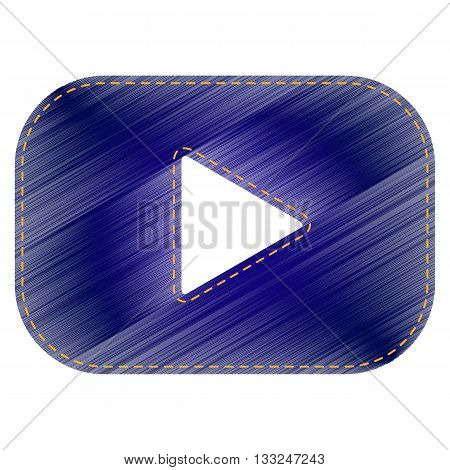 Play button sign. Jeans style icon on white background.