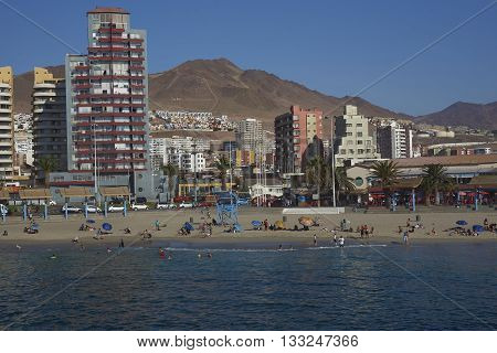 ANTOFAGASTA, CHILE - MAY 15, 2016: Sandy beach along the Pacific Ocean at Antofagasta in the Atacama Region of Chile