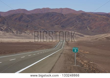 Route 5 through the Atacama Desert in northern Chile.