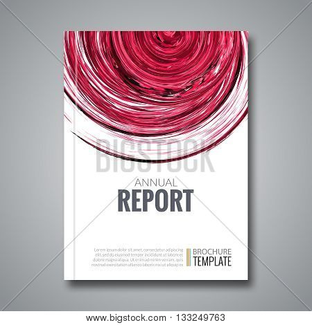 Business Report Design Background with Colorful Red Circle Shape, simulating Watercolor. Brochure Cover Magazine Flyer Template Banners, vector illustration.