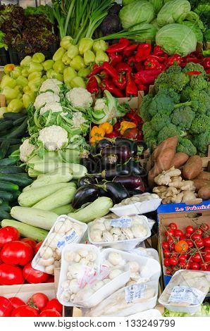 KOTOR MONTENEGRO - SEPTEMBER 21 2015: Sale of various fresh vegetables on a mini market in Kotor Montenegro