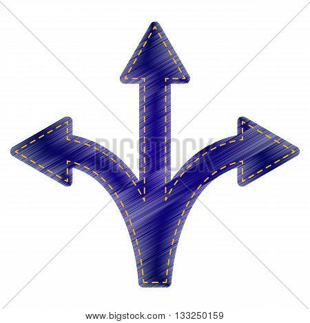 Three-way direction arrow sign. Jeans style icon on white background.