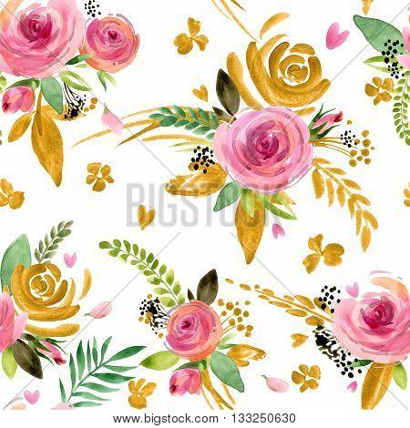 Flower seamless pattern. Roses flower background. Floral pattern. Gold flower pattern.