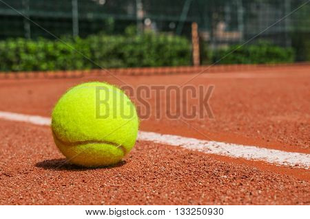 Tennis Equipment On Clay Court
