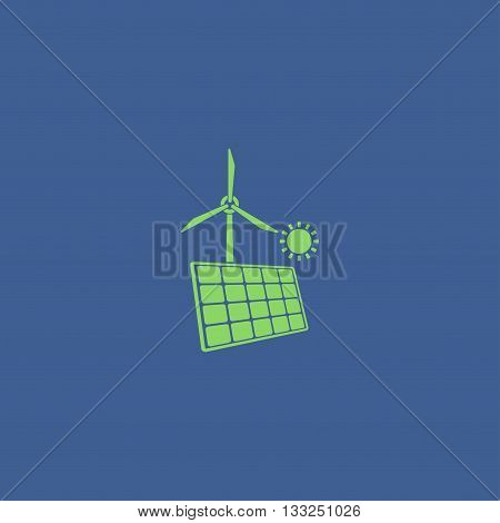 Solar Panel Icon And Wind Turbine Icon.