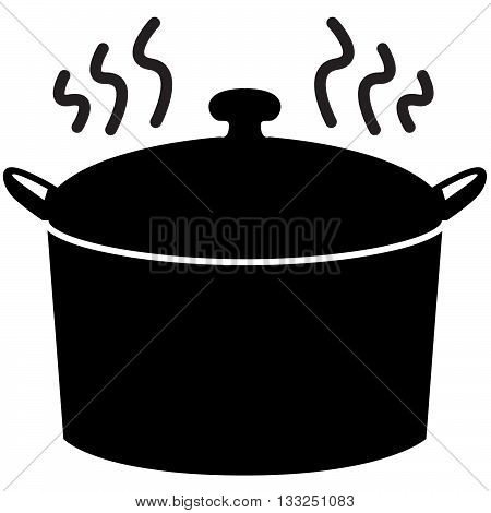 Steaming black Pot-luck dinner pot with handles