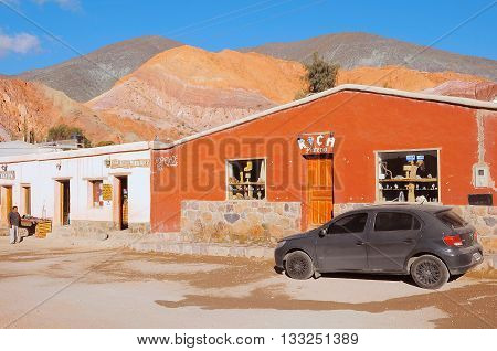 Purmamarca Argentina - April 28 2013: On the streets of Purmamarca town in the province of Jujuy. Argentina.